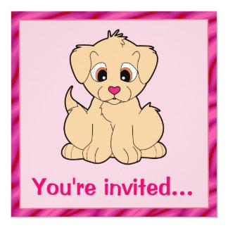 Festa de aniversário do filhote de cachorro do convite quadrado 13.35 x 13.35cm