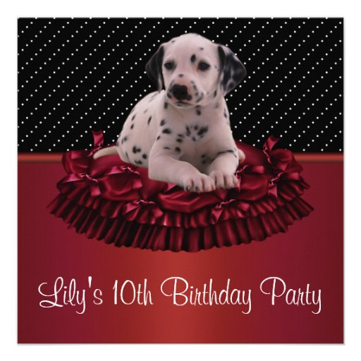 Festa de aniversário do filhote de cachorro Girls1 Convite