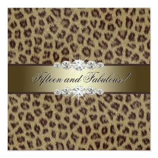 Festa de aniversário do leopardo do ouro 15a convite quadrado 13.35 x 13.35cm