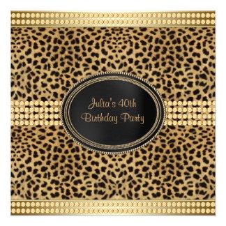 Festa de aniversário do leopardo do ouro convites personalizados
