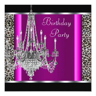 Festa de aniversário do leopardo do rosa quente do convite personalizados