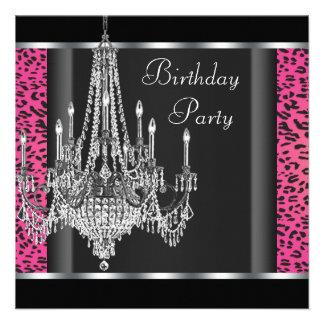 Festa de aniversário do leopardo do rosa quente do convites personalizado