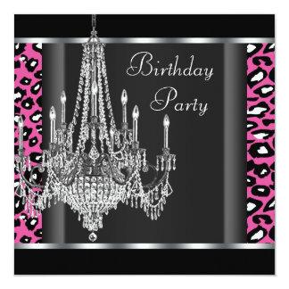 Festa de aniversário do leopardo do rosa quente do convite quadrado 13.35 x 13.35cm