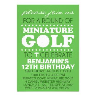 Festa de aniversário do mini golfe do tempo do T d Convites Personalizados