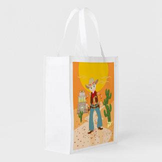 Festa de aniversário do miúdo do vaqueiro sacolas ecológicas para supermercado