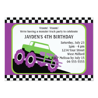 Festa de aniversário do monster truck convite 12.7 x 17.78cm