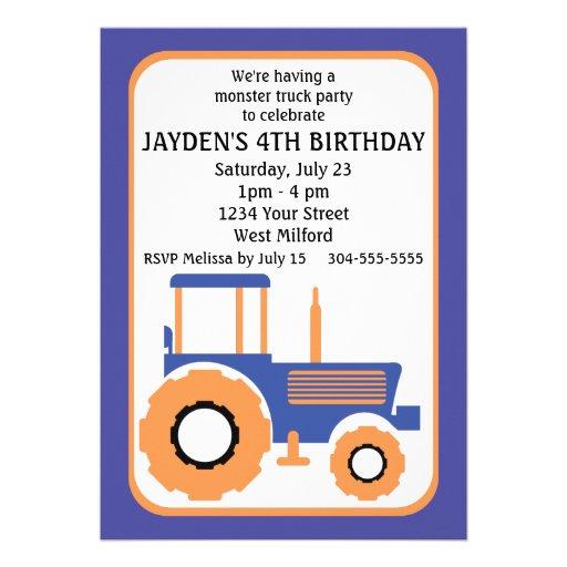 Festa de aniversário do monster truck e do trator convite personalizados