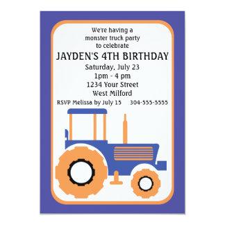 Festa de aniversário do monster truck e do trator convite 12.7 x 17.78cm