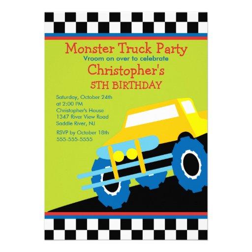 Festa de aniversário do monster truck para meninos convite