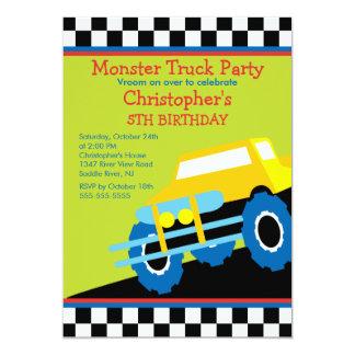 Festa de aniversário do monster truck para meninos convite 12.7 x 17.78cm