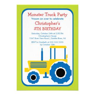 Festa de aniversário do monster truck para meninos convites personalizados