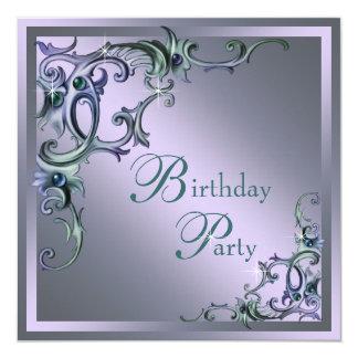 Festa de aniversário do número da mulher roxa azul convite quadrado 13.35 x 13.35cm