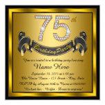 Festa de aniversário do ouro 75th convite quadrado 13.35 x 13.35cm