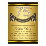 Festa de aniversário do ouro 75th convite 12.7 x 17.78cm
