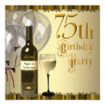 Festa de aniversário do ouro 75th da garrafa de convite personalizado