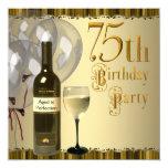 Festa de aniversário do ouro 75th da garrafa de convite quadrado 13.35 x 13.35cm