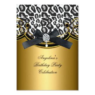 Festa de aniversário do ouro branco do preto do convite 11.30 x 15.87cm