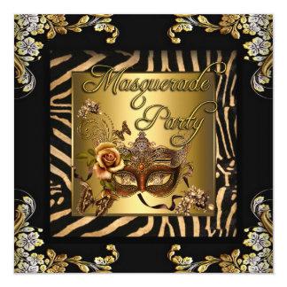 Festa de aniversário do ouro do preto do café da convite quadrado 13.35 x 13.35cm