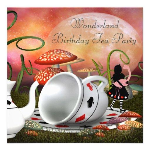 Festa de aniversário do país das maravilhas de convites personalizados