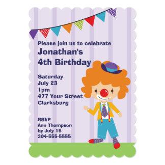 Festa de aniversário do palhaço de circo convite 12.7 x 17.78cm