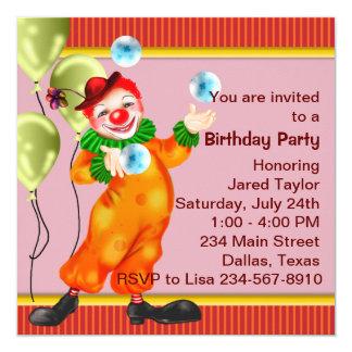 Festa de aniversário do palhaço de circo convite quadrado 13.35 x 13.35cm