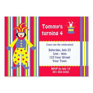Festa de aniversário do palhaço de circo convites personalizados