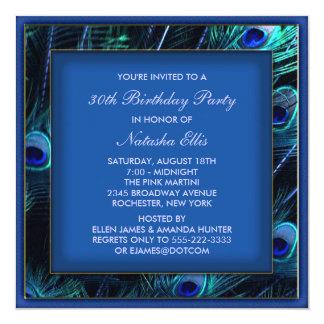 Festa de aniversário do pavão da mulher dos azuis convite quadrado 13.35 x 13.35cm