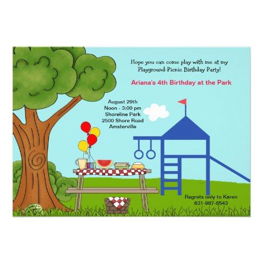 Festa de aniversário do piquenique do campo de jog convite personalizados