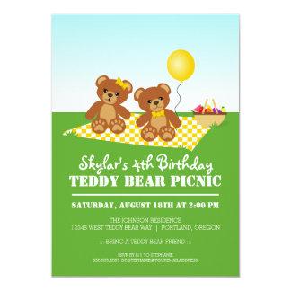 Festa de aniversário do piquenique do urso de convite 12.7 x 17.78cm