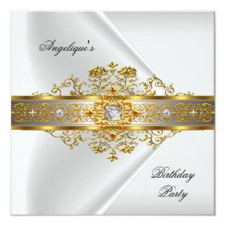 Festa de aniversário do preto do ouro branco da convite quadrado 13.35 x 13.35cm
