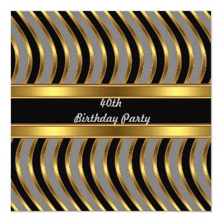 Festa de aniversário do preto do ouro do metal do convite quadrado 13.35 x 13.35cm