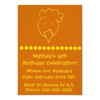 Festa de aniversário do quintal da galinha convite 12.7 x 17.78cm