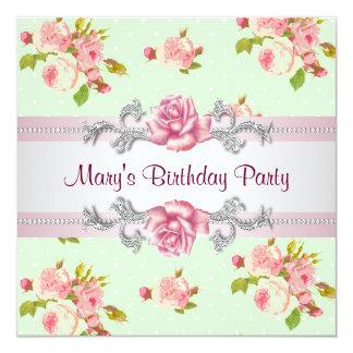 Festa de aniversário do rosa do rosa da mulher convite quadrado 13.35 x 13.35cm
