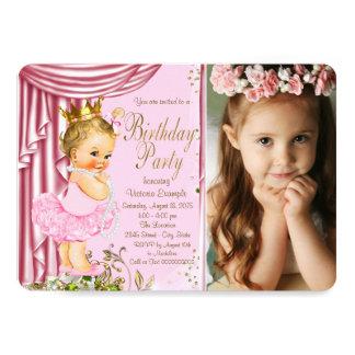Festa de aniversário do rosa e da princesa Tutu Convite 12.7 X 17.78cm