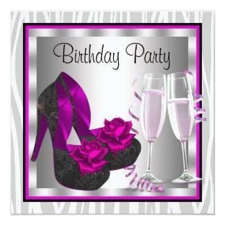 Festa de aniversário do rosa quente da mulher dos convite quadrado 13.35 x 13.35cm