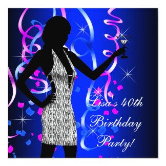 Festa de aniversário do rosa quente e dos azuis convite quadrado 13.35 x 13.35cm