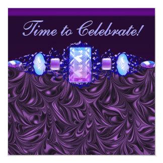 Festa de aniversário do roxo da lavanda das jóias convite quadrado 13.35 x 13.35cm