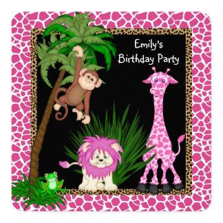 Festa de aniversário do safari das meninas convite quadrado 13.35 x 13.35cm