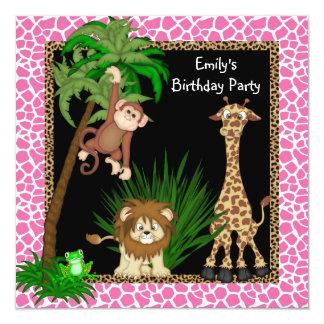 Festa de aniversário do safari de selva das convite personalizado