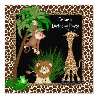 Festa de aniversário do safari dos meninos convite quadrado 13.35 x 13.35cm