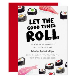 Festa de aniversário do sushi convite 12.7 x 17.78cm