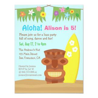 Festa de aniversário do tema da praia de Havaí Convite 10.79 X 13.97cm