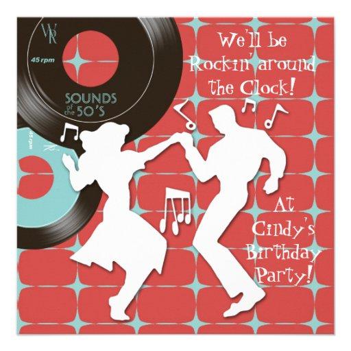 festa de aniversário do tema dos anos 50 convite