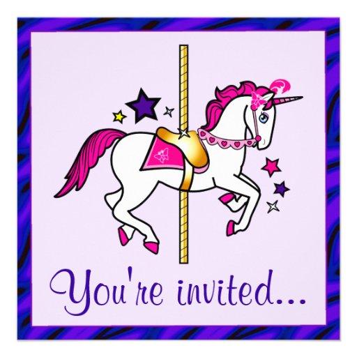 Festa de aniversário do unicórnio do carrossel convite
