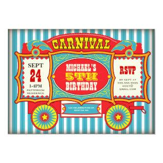 Festa de aniversário do vagão do carnaval do circo convite personalizados