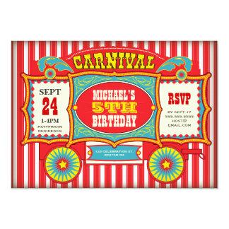 Festa de aniversário do vagão do carnaval do circo convite 12.7 x 17.78cm