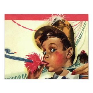 Festa de aniversário do vintage, menina com convite 10.79 x 13.97cm