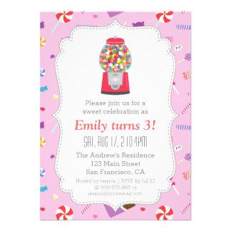 Festa de aniversário doce dos doces da máquina de  convite personalizado