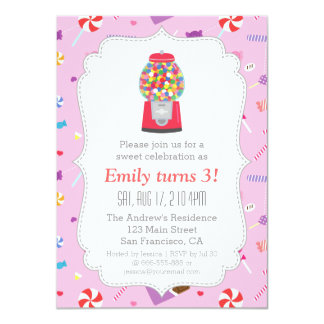 Festa de aniversário doce dos doces da máquina de convite 11.30 x 15.87cm