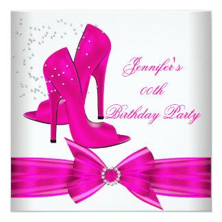 Festa de aniversário dos calçados do salto alto do convite quadrado 13.35 x 13.35cm